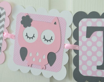 Owl Mom To Be Banner, Girl Banner, Pink Owl Banner, Owl Baby Shower, Owl Nursery, Owl Banner, Light Pink and Gray, Chevron and Dots Theme