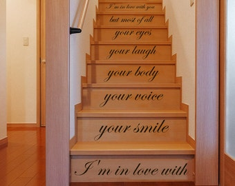 Stair Decals Quotes Stairway Love Decals Quote I'm in love with your smile Phrase Nursery Baby Room Staircase Decal Home Vinyl Stickers C574