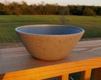 Speckled Gray Pottery Serving Bowl Wheel Thrown Stoneware Clay Handmade
