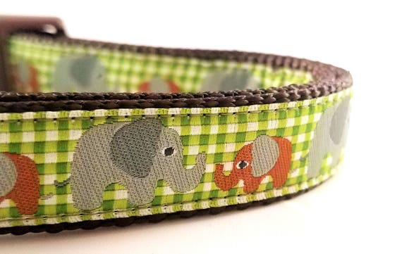 Elephant Family Dog Collar / Adjustable / Small Dog Collar / Large Dog Collar / Elephants / Gingham / Plaid / Dog Lover