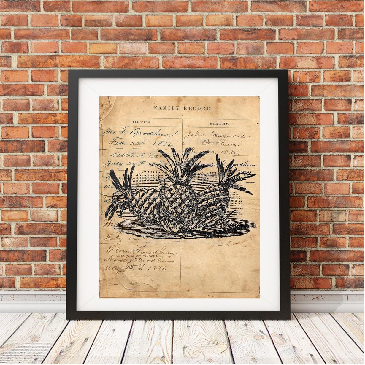 Pineapples vintage handmade print | trendy wall art | wall decor ...