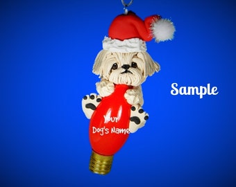 Shih Tzu Santa Dog white cream colored Christmas Holidays Light Bulb Ornament Sally's Bits of Clay OOAK PERSONALIZED FREE with dog's name