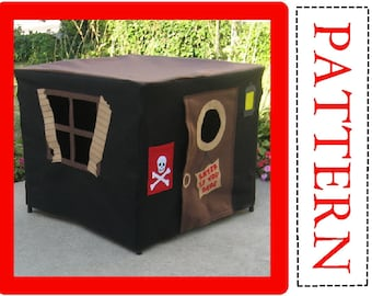 Card Table Playhouse Sewing Pattern, Pirate Playhouse, Instant Download, Complete Pattern, Includes Full Alphabet Sets for Personalization
