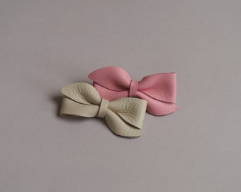 S18 / Stella / Leather Bow Headband, Leather Bow, Baby Bows, Baby Headbands, Baby Girl , Baby Hair Clip