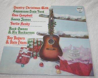 Vintage Record LP Album, Country Christmas, Multiple Singers and Musicians, 1950s
