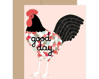Good Day Rooster Card, Thanks Cockerel Card, Happy Post Card, Have A Good Day Card, Congratulations Card, Just Because Card, Barnyard Card