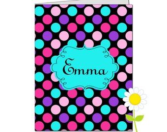 Personalized Folder for Kids - Polka Dot Pocket Folder for Girls - Custom School Folder - Black, Pink, Purple & Aqua Polka Dot Folder