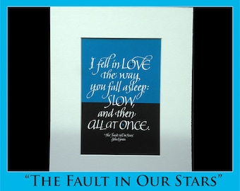 Fault in Our Stars quote featuring calligraphy
