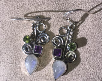 Old Solid 925 Silver Moonstone Peridot & Amethyst Earrings Suffragette colours