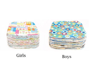 Sweet Bobbins Cloth Wipes - 25 wipes - Choose Gender  - OBV and Flannel - 8x8