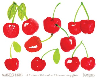 Watercolor Clip Art - Watercolor Fruit Illustration - Cherries Clip Art