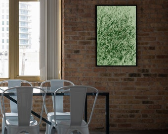 Green faux fur print, retro, home decor, MEANDMK, digital download, printable