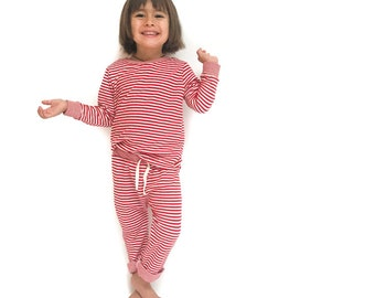 Red & White Striped Double Knit Outfit 6m-6/7y. www.brownsugarbeach.com