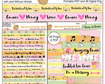 Printable & Digital Washi Tape for Bible Journaling or Planners / Print on Sticker Paper or PNG Drag n Drop