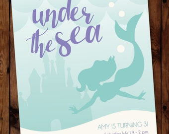 Mermaid Birthday Invitation, Under the Sea Invitations, Little Mermaid Invitation, Little Mermaid Invite, Under the Sea Party Invite #002