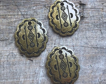 Brass Ox Concho Pendant - DIY Jewelry