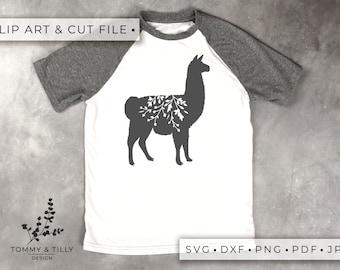 Llama Silhouette - Clipart & Cut File - Hand Papercutting - Cricut / Silhouette - SVG DXF PNG Pdf Jpg - Kids Children Nursery