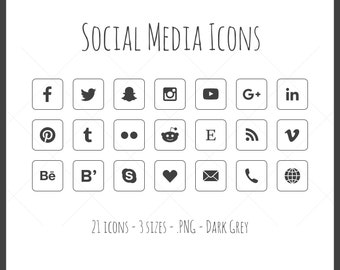 Social Media Icons - 21 icons in 3 sizes, dark grey and white, outline style with solid icon, PNG files, black