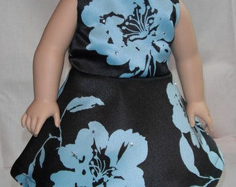"18"" Doll Clothes Sleeveless Knee Length 3/4 circle Dress in Black & Aqua Floral print with rhinestones"