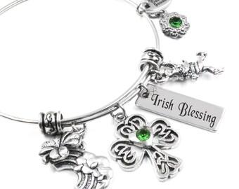 Irish Bangle Bracelet, St. Patricks Day Bangle, Bracelet, Irish Blessing, Leprechaun Bangle, Adjustable Wire Bangle
