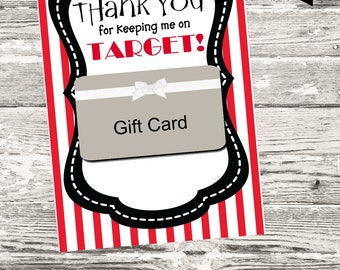 Thank You for Keeping Me On Target Thank You Card Printable Digital INSTANT DOWNLOAD
