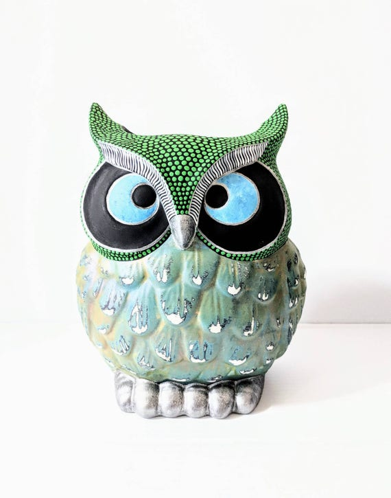 Owl Vase Hand Painted Owl Vase Ceramic Vase Green And Owl