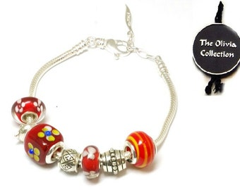 Toc Beadz Sterling Silver Red Flowers Bead Bracelet (PB56)