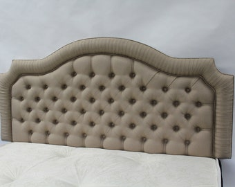 Hyde 4ft6 Double Headboard for bed in Oatmeal Linen Fabric