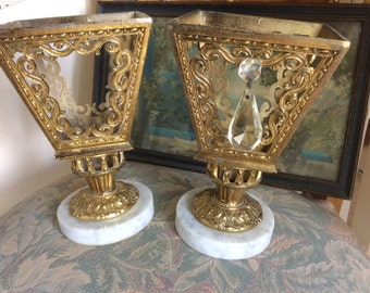 Vintage Hollywood Regency, Lamps, Metal Filigree and Marble, Pair