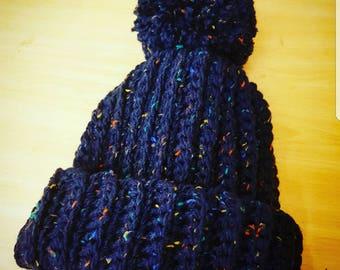 Navy fleck bobble hat