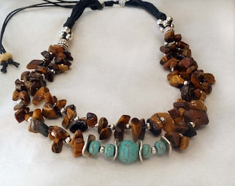 Tiger Eye Necklace, Turquoise Necklace, Boho Necklace, Multi Strand Stone Necklace