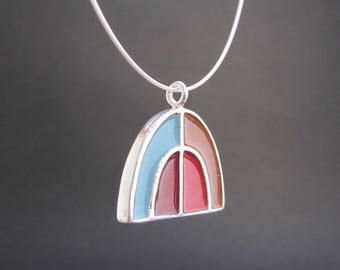 Half Dome Necklace - New Century Modern - Blue and Red Reversible Enamel Necklace