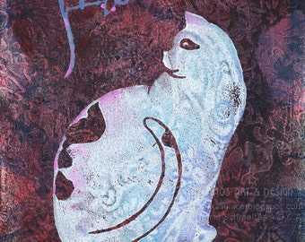 Neko Cat and Mouse Wall Decor Super Cute original art fine art printmaking