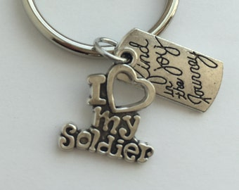Soldier keychain, Love My Soldier keyring.  Support your serviceman, Find Joy in the Journey together shows your dedication to your soldier.