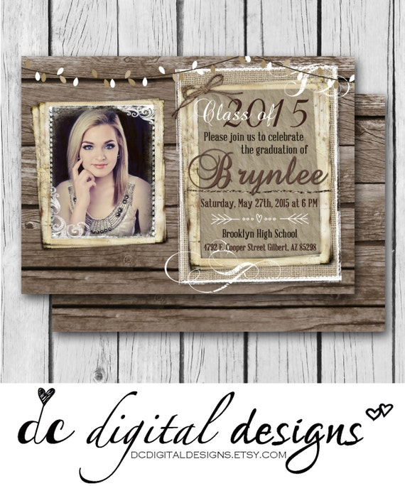 Rustic Graduation Invitation Burlap Wood Girl Wedding