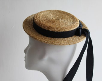 The Coco Monroe - Flat Top Fascinator - w/ Navy Trailing Ribbon - Races