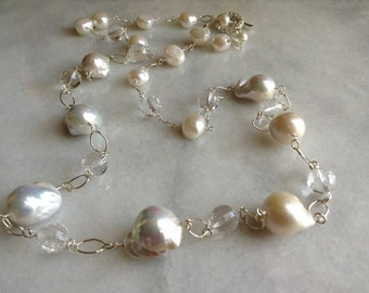 Long White Baroque Pearls, Rock Quartz Crystal Necklace SilverGold Chain Toggle Clasp Statement Necklace---The Lady---by Lady Grey Beads