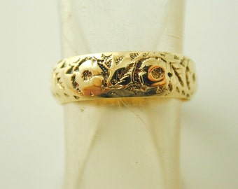Posey ring antique 18 carat gold pretty floral pattern size K dated 1918 3.9g