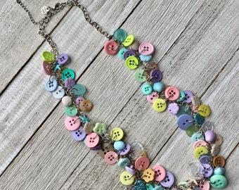 Beachy Button Necklace, Pastel Button Necklace, Upcycled Button Necklace, Button Charm Necklace, Repurposed Necklace, Funky Button Necklace
