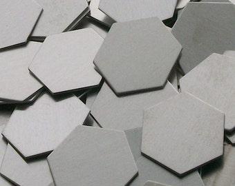 Aluminum Hexagons - 18 ga, stamping blanks, metal blanks, hand stamping blanks, food safe blanks, hypo-allergenic blanks