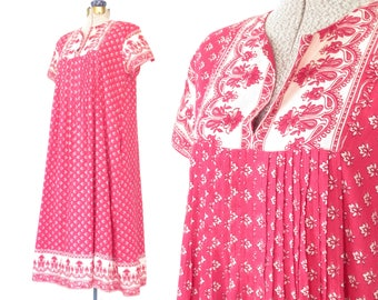 india cotton dress * 70s dress * 1970s summer tent dress * vintage pink block print dress * medium