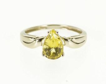14k Citrine Pear Cut Prong Set Scalloped Ring Gold