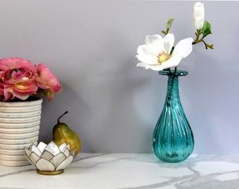 Teal Vase Hand Blown Vintage Art Glass