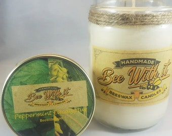 Peppermint Eucalyptus candle handmade with beeswax and soy wax
