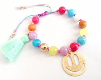 Rainbow boho bracelet beaded bohemian bracelet friendship bracelet smile gold pendant tassel bracelet hippie bracelet summer gypsy bracelet