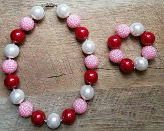 Valentine's Day Chunky Necklace, Bubblegum Bead Necklace, Chunky Beads, Baby Bubblegum Necklace, Valetines Necklace, Pink and Red Necklace