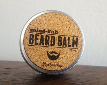 Beard Balm - Barbershop Scent - All Natural Organic Beard and Mustache Grooming - Facial Care Handmade in Small Batches - 2 oz.
