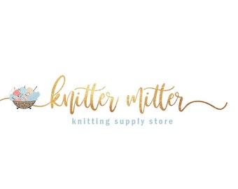 Knitting Logo, Knit Logo Design, Thread Logo Design, Threading Logo, Sewing Logo, Seamstress Logo, Yarn Logo, Sew Logo Design, Watercolor