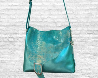 Italian Croco Embossed, metallic turquoise leather crossbody, Lined, pockets, zipper pocket, raw cut flap, magnet closure, handmade bag
