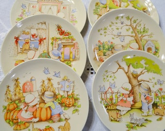 Vintage Country Kids Dessert Plate Set of 6 Watkins Complete Set Collectible Plate Wall Hanging Display PanchosPorch